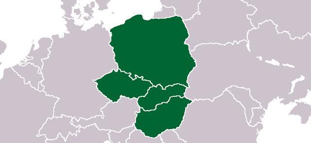 Mapa państw należących do grupy wyszehradzkiej